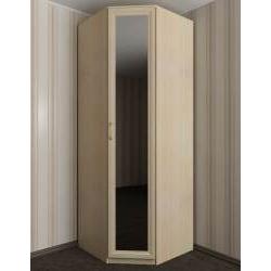 зеркальный однодверный угловой шкаф