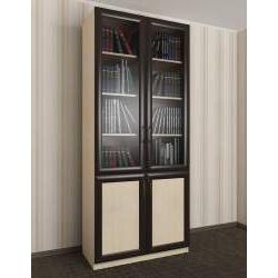 двухстворчатый книжный шкаф со стеклом