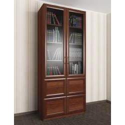 двухдверный книжный шкаф со стеклянными дверями с ящиками