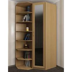 угловой шкаф для одежды со стеллажом