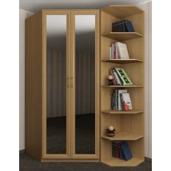 Распашной угловой шкаф для спальни цвета бук.