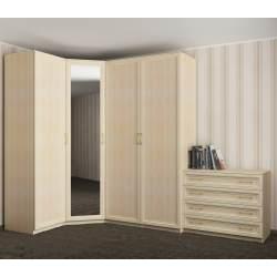 зеркальный угловой шкаф для одежды
