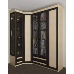 угловой шкаф в кабинет для книг
