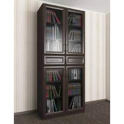 шкаф для книг цвета темный венге