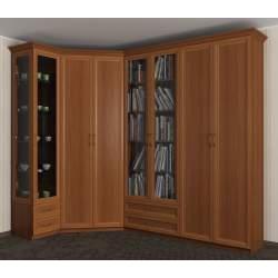 шкаф угловой с распашными дверями для книг
