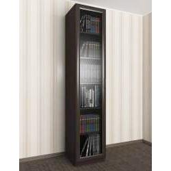 книжный шкаф со стеклом цвета темный венге