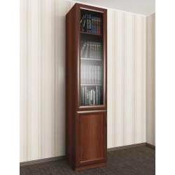 одностворчатый книжный шкаф со стеклянными дверцами