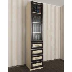 узкий книжный шкаф со стеклом с ящиками для мелочей