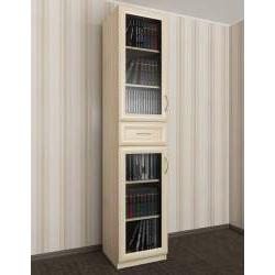 книжный шкаф со стеклянными дверями с ящиками шириной 40-45 см
