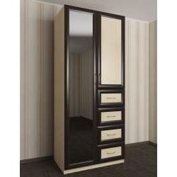 двухдверный шкаф для одежды и белья с ящиками