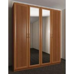 зеркальный 4-створчатый шкаф с распашными дверцами
