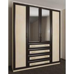 зеркальный 4-дверный шкаф с распашными дверями