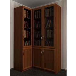 угловой шкаф в кабинет со стеклянными дверцами