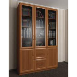 трехдверный книжный шкаф со стеклянными дверями