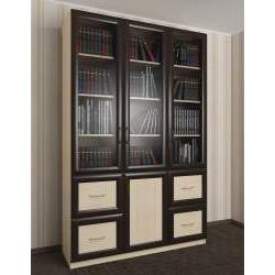 широкий книжный шкаф со стеклянными дверцами
