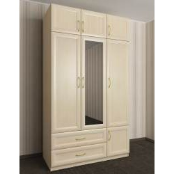 трехстворчатый шкаф для одежды и белья с ящиками