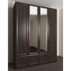 широкий зеркальный шкаф для одежды