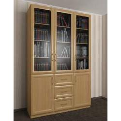 большой книжный шкаф с выдвижными ящиками