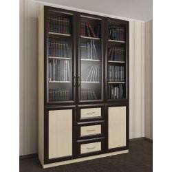 книжный шкаф с выдвижными ящиками