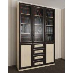 книжный шкаф со стеклом с ящиками