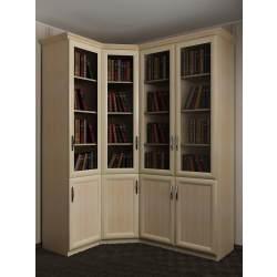 4-дверный книжный угловой шкаф