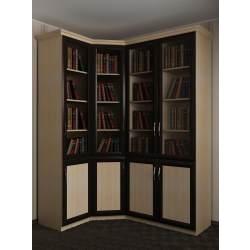 книжный угловой шкаф со стеклянными дверцами