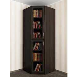 одностворчатый угловой шкаф со стеклянными дверями