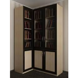 книжный угловой шкаф в кабинет