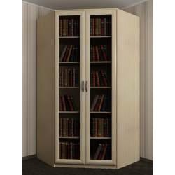 угловой шкаф с распашными дверями для книг