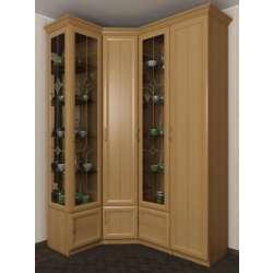 4-дверный угловой шкаф с полками для посуды