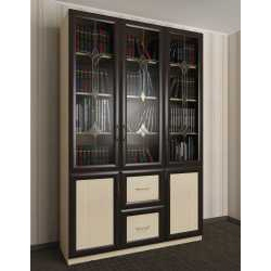 витражный трехдверный книжный шкаф со стеклянными дверями
