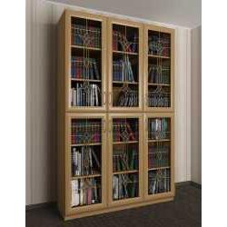 3-дверный шкаф для книг c витражным стеклом