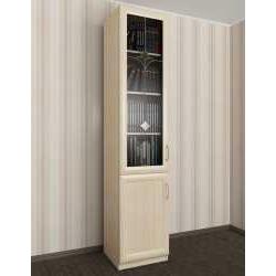одностворчатый книжный шкаф со стеклянными дверцами с витражом
