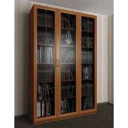 3-створчатый книжный шкаф с витражом