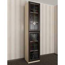 витражный 1-дверный книжный шкаф со стеклянными дверями