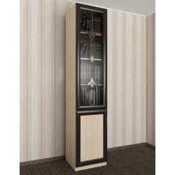 витражный одностворчатый книжный шкаф со стеклянными дверцами