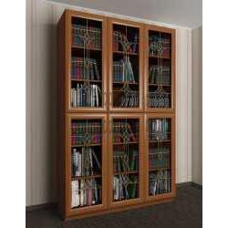 3-дверный шкаф для книг с витражом