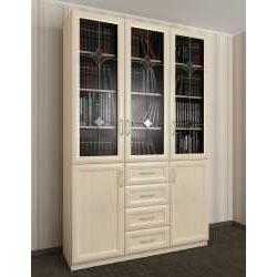 3-створчатый книжный шкаф со стеклом с витражом