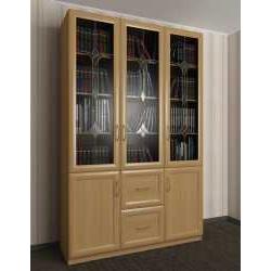 трехдверный книжный шкаф со стеклянными дверями c витражным стеклом