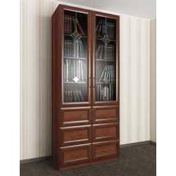 витражный книжный шкаф со стеклянными дверцами шириной 80-90 см