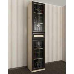 витражный книжный шкаф со стеклянными дверями шириной 40-45 см