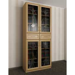 2-дверный шкаф для книг c витражным стеклом