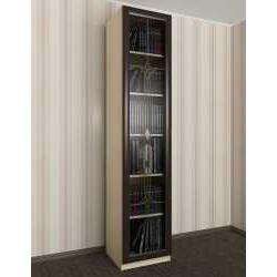 витражный 1-створчатый книжный шкаф со стеклом