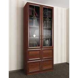 витражный двухдверный книжный шкаф со стеклянными дверями