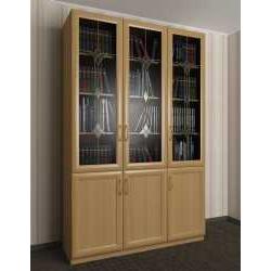 трехстворчатый книжный шкаф со стеклом c витражным стеклом