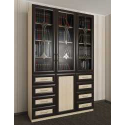 витражный книжный шкаф со стеклянными дверями