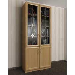 двухстворчатый книжный шкаф со стеклом c витражным стеклом