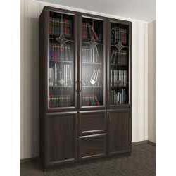книжный шкаф со стеклянными дверями цвета темный венге