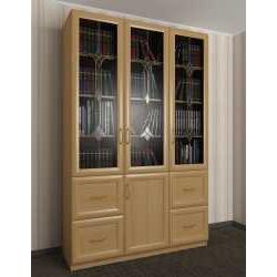 книжный шкаф со стеклянными дверцами c витражным стеклом