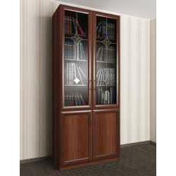 витражный двухстворчатый книжный шкаф со стеклом